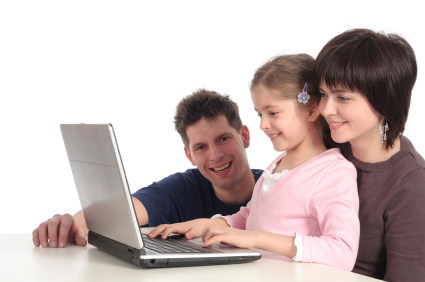 Family looking at email